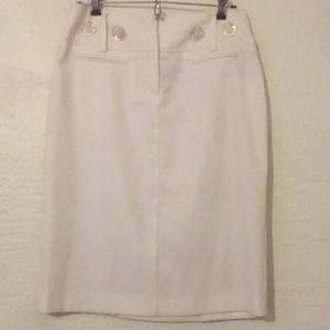 Off white shimmer pencil skirt